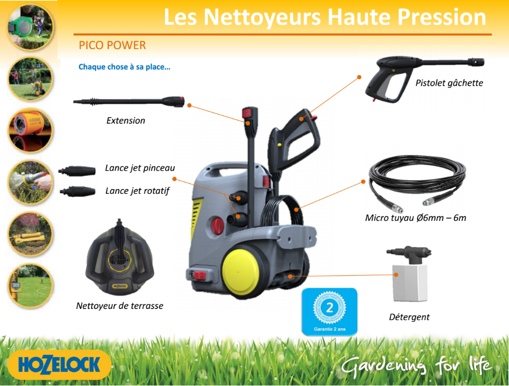 Nettoyeur haute pression pico power jardin hozelock outiland - Nettoyeurs a haute pression ...