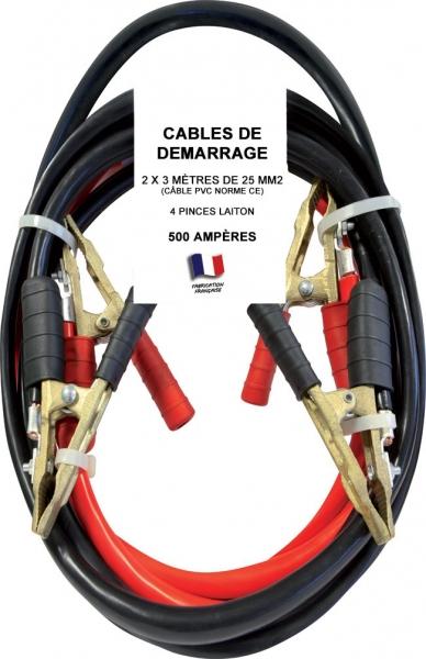 cable de d marrage 500 amperes 500a 25mm longueur du cable de d marrage 3 m tres. Black Bedroom Furniture Sets. Home Design Ideas