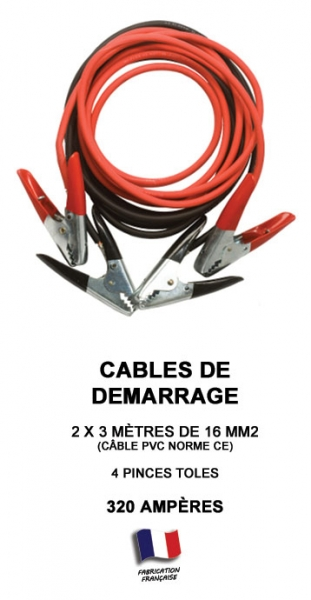 cable de d marrage 320 amperes 320a 3 m tres 16mm fabrication francaise outiland. Black Bedroom Furniture Sets. Home Design Ideas