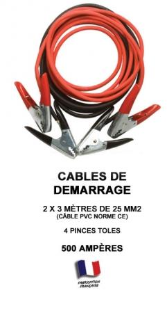 cable de d marrage 500 amperes 500a 3 m tres 25mm. Black Bedroom Furniture Sets. Home Design Ideas