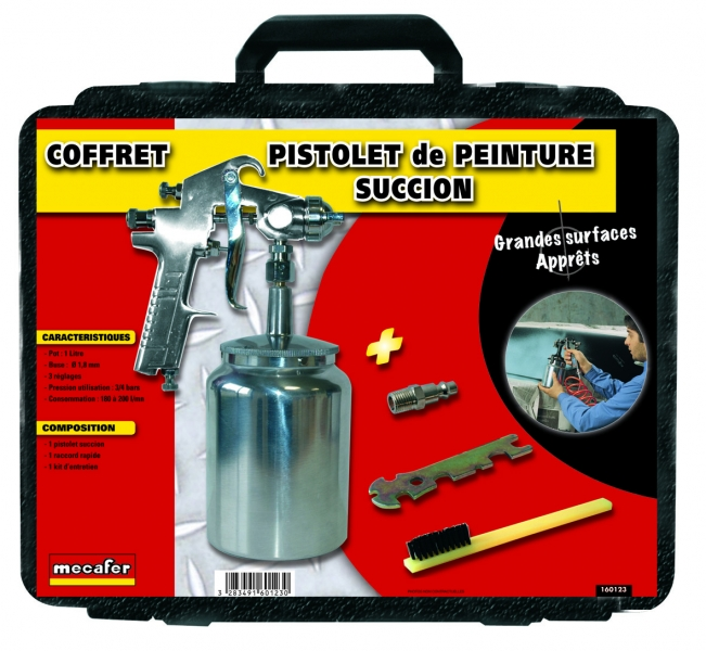 mallette pistolet peinture a succion 1 litre 1 kit d 39 entretien mecafer outiland. Black Bedroom Furniture Sets. Home Design Ideas